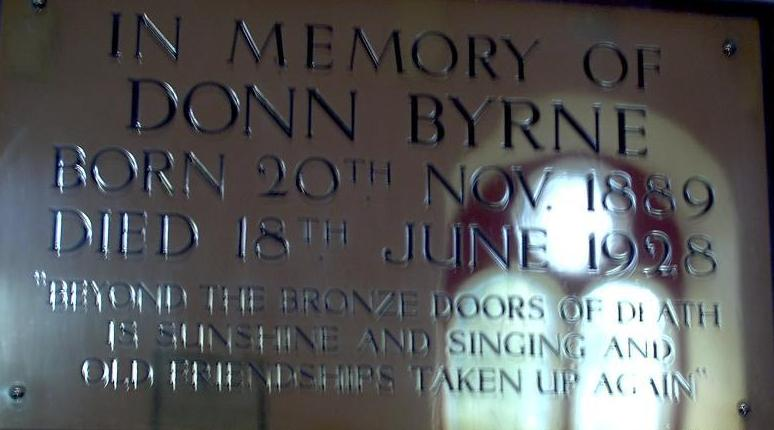 Donn Byrne Plaque, Rathclarin Church